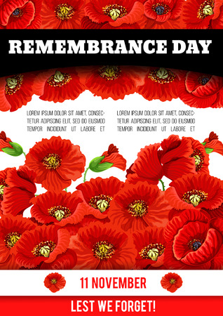 Vector poppy poster of Remembrance day 11 November Ilustração