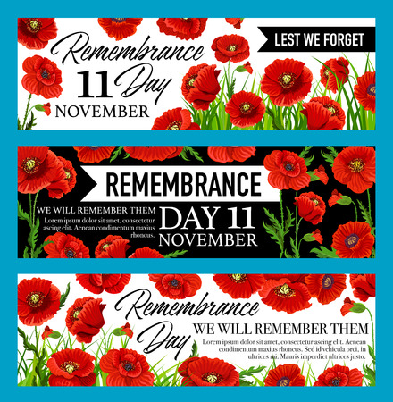 Remembrance Day Lest We Forget banner with poppy Stockfoto - 102344193