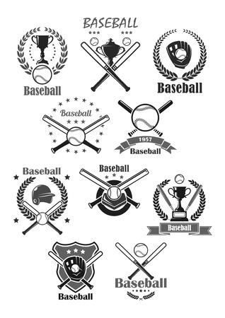 Baseball sport vector icons or tournament badges