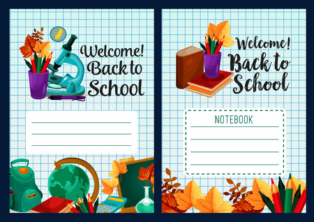 Back to School vector notebook cover design