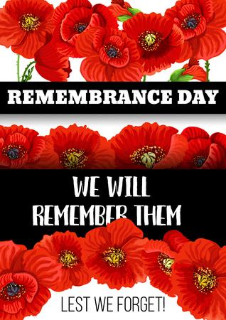Vector 11 November Remembrance day poppy card