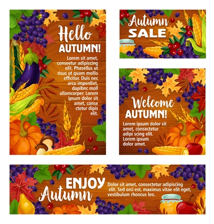 Autumn harvest holiday poster and banner template