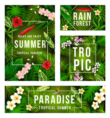 Summer tropical banner with exotic floral frame