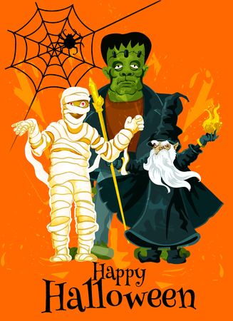 Happy Halloween trick treat vector greeting card