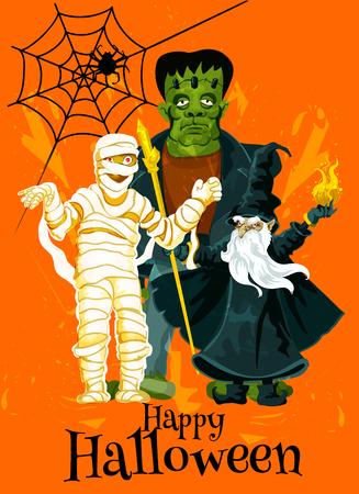 Happy Halloween trick treat vector greeting card