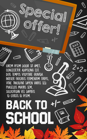 Back to school supplies sale poster on blackboard Illustration