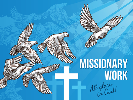 White dove banner for World Peace Day design