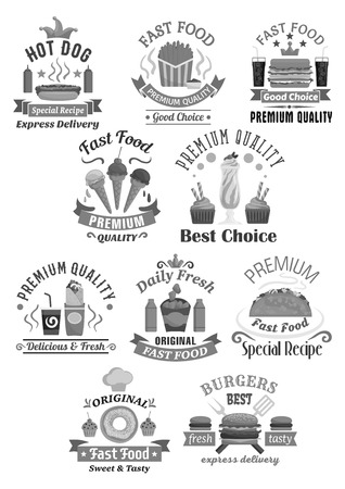 Fast food restaurant vector icons set Illustration
