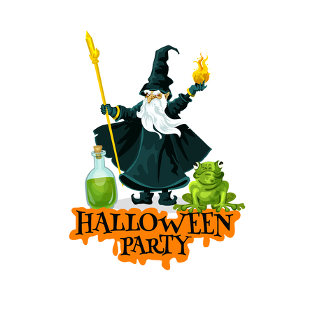 Halloween party festive badge with evil wizard Illustration