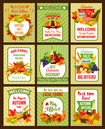 Autumn sale poster of Thanksgiving special offer Stock Illustratie