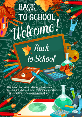 Back to School vector autumn sale poster Иллюстрация