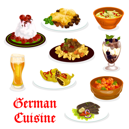 German cuisine traditional food icon. Pork meat and spinach casserole, duck with vegetable and stuffed pepper with meat, cream sauce meat pasta, chocolate pudding and cherry cream dessert