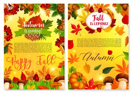 Autumn fall seasonal nature vector greeting card Stock Illustratie