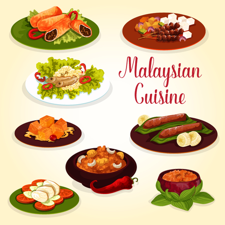 Malaysian cuisine exotic food icon for lunch menu. Chicken on rice and vegetable bed, fish with bean sprout and meat roll, beef masala curry, grilled chicken with peanut sauce and fruit dessert