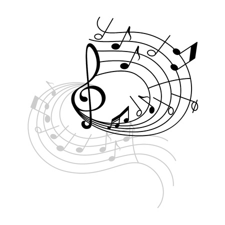 Music note stave swirl icon with shadow. Musical note and treble clef on swirling musical staff for music notation symbol, sound and melody themes design
