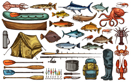 Fishing equipment, fish and fisherman tackle sketch set. Fishing rod, hook and bait, sea and river fish, boat, reel and lure, seafood, tent and boot isolated icon for fishing sport themes design Foto de archivo - 121823606