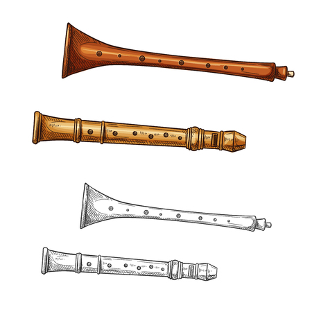 Karamoudzes and xiao flute woodwind musical instrument sketch of Greece and ancient China folk music. Wooden end blown flute for ethnic music festival or art history themes design