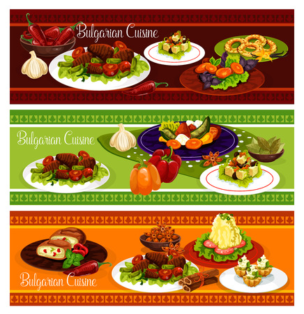 Bulgarian cuisine restaurant menu banner set of lunch with dessert. Tomato pepper stew, fried paprika, bean beef stew and mashed potato with cheese, cream fruit cake, nut cookie and egg leek pie