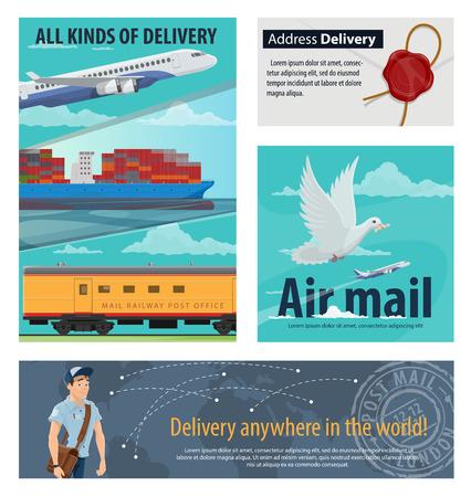 Mail Delivery Banner für die Gestaltung von Postdiensten. Luftpost Flugzeug, Eisenbahn Post und Verpackung Lieferung Frachtschiff, Postbote, Brief und Lieferung Tracking Weltkarte Poster für Versandkonzept Vektorgrafik