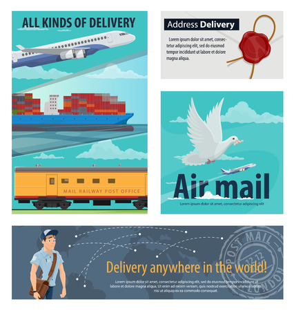 Mail delivery banner for postal service design. Airmail plane, railway post office and packaging delivery cargo ship, postman, letter and delivery tracking world map poster for shipping concept Vetores