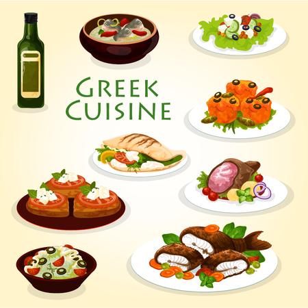 Greek dinner icon with mediterranean cuisine food