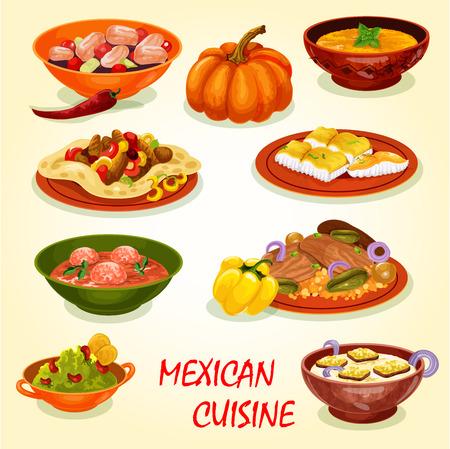 Icône de déjeuner de restaurant de cuisine mexicaine avec plat salé. Salade de tacos à la viande en tortilla de maïs, ceviche de poisson et fruits de mer frits, guacamole à l'avocat, riz au bœuf, tomate aux boulettes de viande et soupe à la crème de potiron Vecteurs
