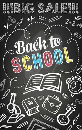 Sale offer banner of school supplies on blackboard Illustration