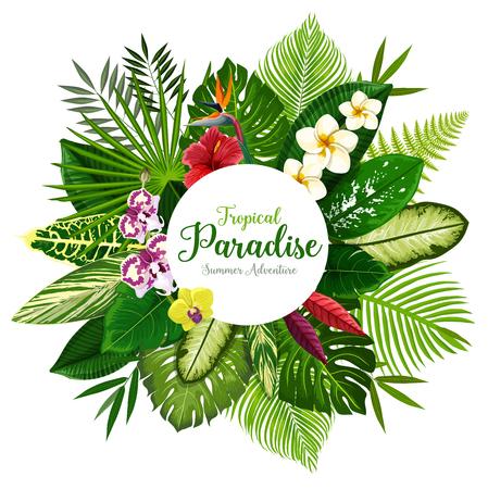 Banner de vacaciones de verano de hojas de palmeras tropicales y flores hawaianas. Ramo floral exótico de hibisco, plumeria, orquídea y flor de strelitzia, helecho, monstera, abanico y palma areca para diseño de invitación
