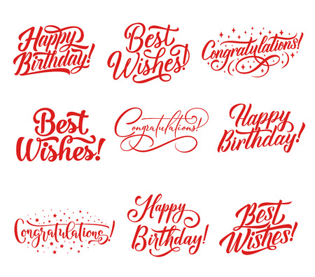 Congratulations hand lettering for greeting card and invitation template. Happy Birthday and Best Wishes calligraphy inscription, decorated by star for celebration party decoration design