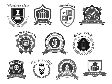 Vector icons set for college or state university Illustration