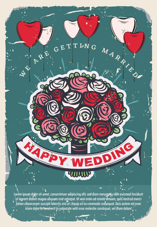 Wedding bridal bouquet vintage invitation template. Rose flower bunch with heart shaped balloon retro poster, adorned by ribbon banner with wishes of Happy Wedding