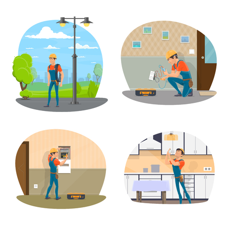 Electrician with equipment icon set for electrical service design. Professional electrician changing light bulb and repairing socket, electrical engineer checking electrical switchboard and light pole Illustration