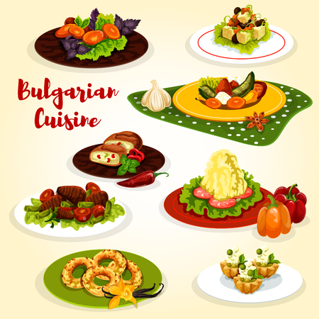Bulgarian cuisine dinner menu icon. Pepper tomato stew lecho, mashed potato with cheese and fried bell pepper, bean beef stew, egg leek pie, nut cookie and cream cake with grapes Standard-Bild - 121823303