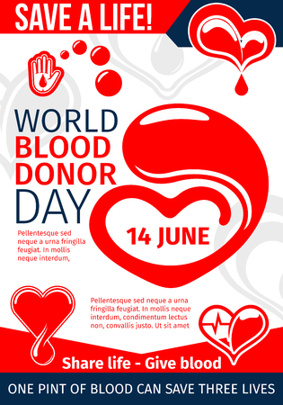 Donate Blood and Save Life medical banner for World Donor Day template. Red heart and helping hand with drop of donation blood and heartbeat line flyer for blood transfusion laboratory design Vektoros illusztráció