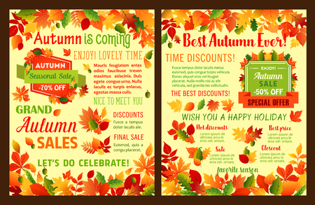 Autumn sale shop discount vector leaflet or poster 일러스트