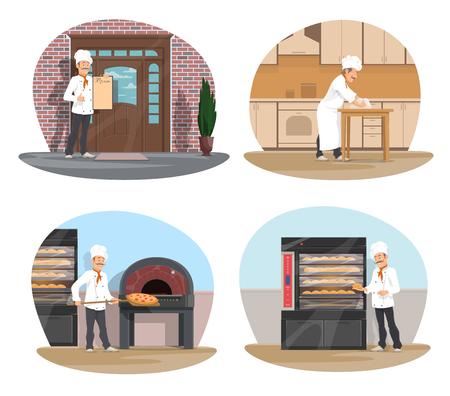 Karikatur-Ikonensatz des Bäckers bei der Arbeit für Bäckerei, Pizzeria und Konditorei-Design. Bäcker mit weißem Hut, der Brot macht, Pizzakoch nehmen Pizza vom Herd, Konditor, der vor Restaurant mit Menü steht