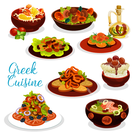 Greek cuisine seafood lunch with dessert icon. Vegetable mushroom salad, pepper with feta cheese and grilled seafood, squid in wine sauce, fish cream soup, fruit yogurt dessert and lamb meat stew