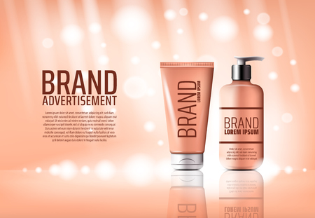 Cosmetic brand advertising poster of cream bottle