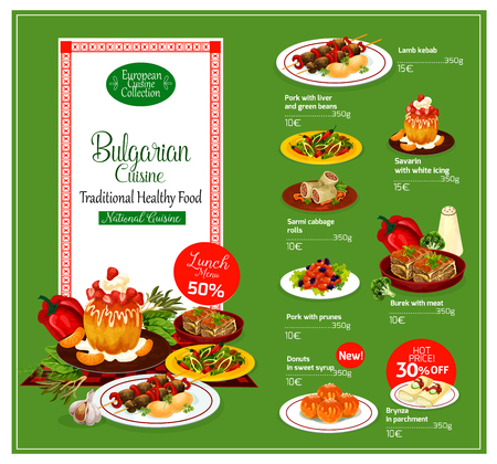 Bulgarian cuisine restaurant menu template with healthy food. Grilled lamb kebab, cabbage roll and meat pie, liver salad with pepper and bean, baked pork with prune, fried cheese, donut and cake Ilustração