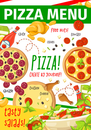 Pizza menu for fast food restaurant or italian pizzeria template. Pizza crust with tomato sauce, cheese and salami sausage ingredient, french fries and chicken salad for fastfood cafe banner design