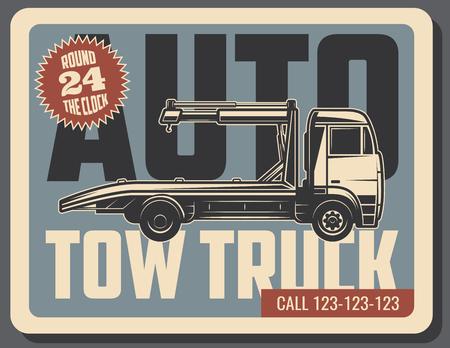 Remorquage camion rétro affiche grunge du véhicule d & # 39 ; urgence de remorquage de l & # 39 ; emploi et de la route de l & # 39 ; air vintage avec la roue de frein et vieux panneau de transport pour la conception de véhicules de la route Banque d'images - 103024345