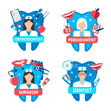 Dentistry icon with dentist doctor and tooth 向量圖像