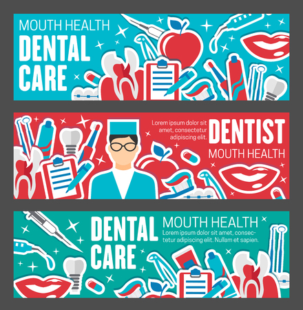 Dentistry medical banner for tooth hygiene and dental treatment design. Dentist clinic poster with oral surgeon or orthodontist equipment, implant, toothbrush and braces, toothpaste, floss and caries Ilustracja