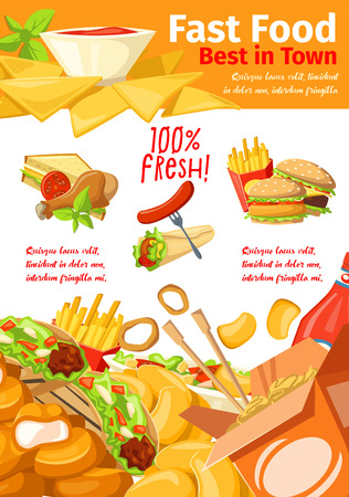 Fast food restaurant banner for american, mexican and chinese cafe menu. Hamburger, hot dog and fries, chicken nuggets, fries and sandwich, meat taco, noodle and burrito poster for takeaway delivery Illustration