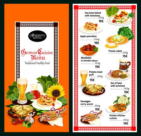 Menüvorlage für deutsche Küche. Bier, serviert mit Wurstsandwich, Frikadelle und Schnitzel, Kartoffelsalat, gebackenem Fisch und Fleischpastete für europäische und bayerische Abendessengerichte