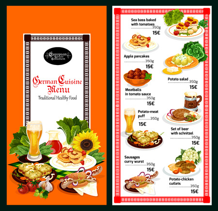 German cuisine restaurant menu template. Beer, served with sausage sandwich, meatball and schnitzel, potato salad, baked fish and meat pie for european and bavarian dinner dish design Illustration