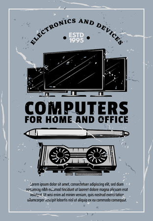 Computer electronic device retro grunge banner. Digital device for home and office with desktop monitor screen, video card and digital pen poster for computer store or repair service design