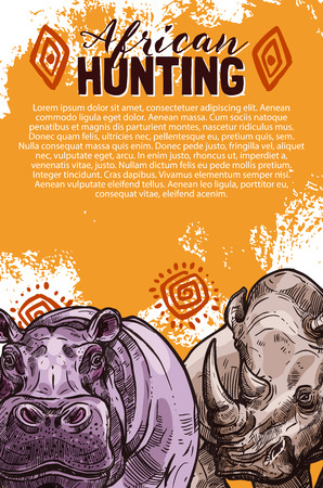 African hunting banner with wild safari animal sketch. Rhino and hippo savannah mammal poster, decorated with african ethnic ornament for hunter sport club safari tour flyer design