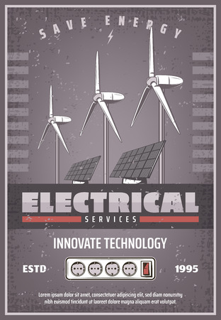 Save energy retro banner for eco power innovate technology concept. Ecology solar panel and wind turbine electrical service vintage poster for green energy and environment protection design Ilustracja