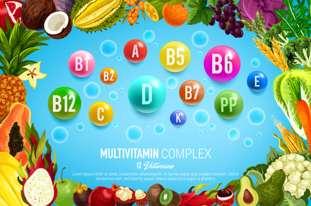 Vitamin and mineral banner with healthy food, vegetable and fruit frame. Natural diet supplement complex of colorful pill and drops, healthy nutrition poster for medicine, health care and pharmacy